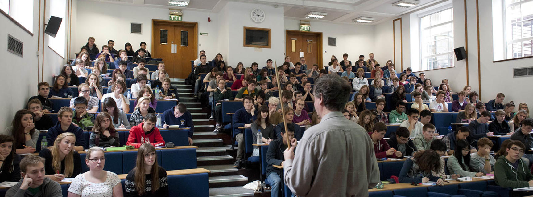 A lecture being delivered in the ICL lecture theatre